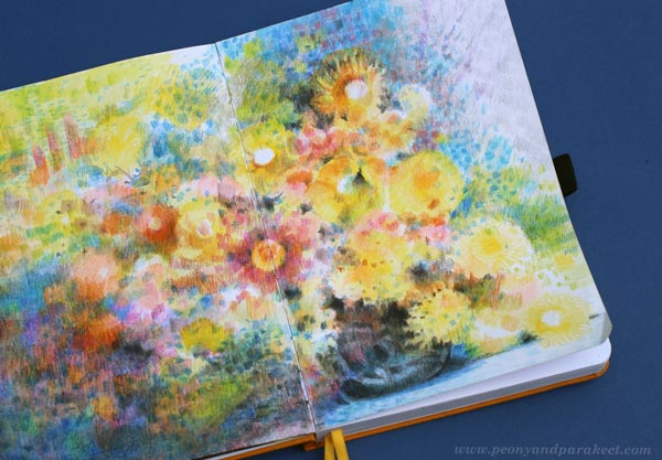 A closeup of a colored pencil journal by Paivi Eerola.