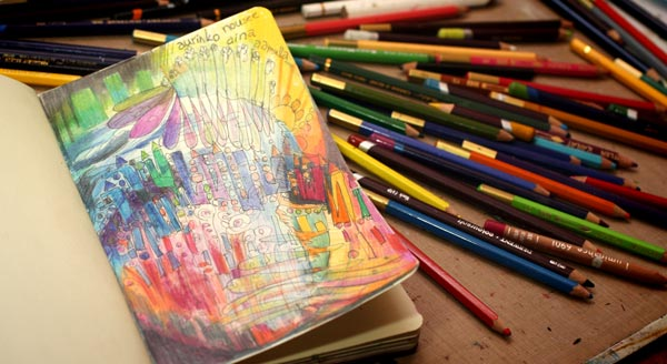 Art journaling with colored pencils.