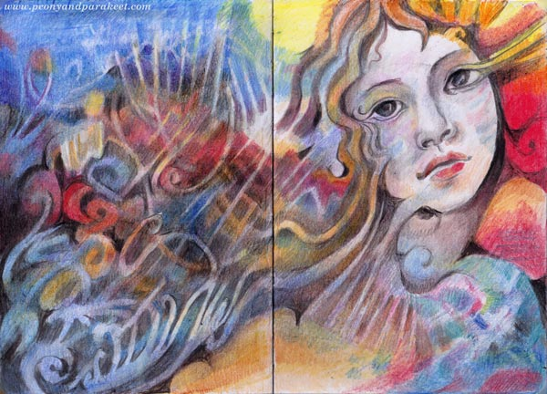 A study of Sandro Botticelli's art and spirituality by Paivi Eerola. Colored pencils notebook.