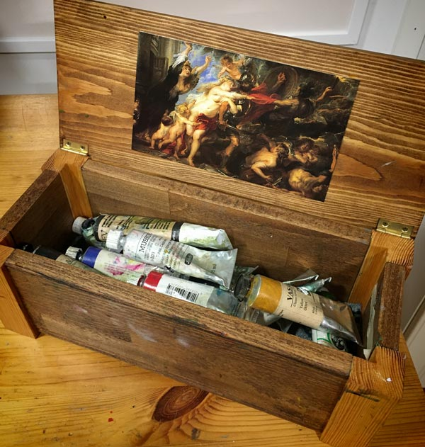 Painting of Paul Peter Rubens in a box of oil paints. Old art can be inspiring, and if you love it, do watch the interesting documentary called My Rembrandt!